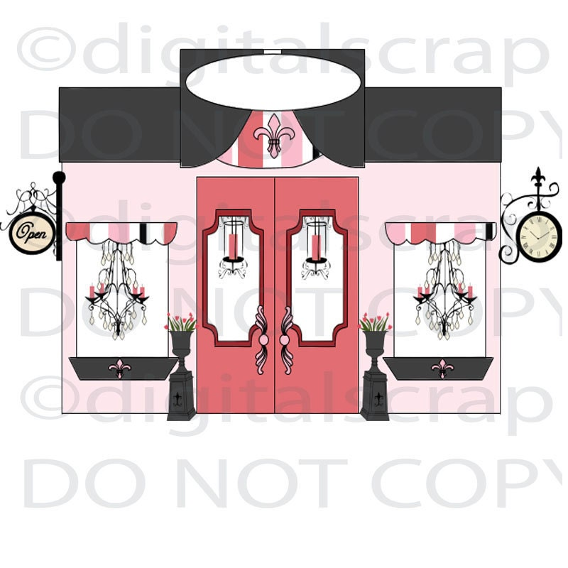 buy 1 get 1 free paris boutique shop store front by digitalscrap. Black Bedroom Furniture Sets. Home Design Ideas