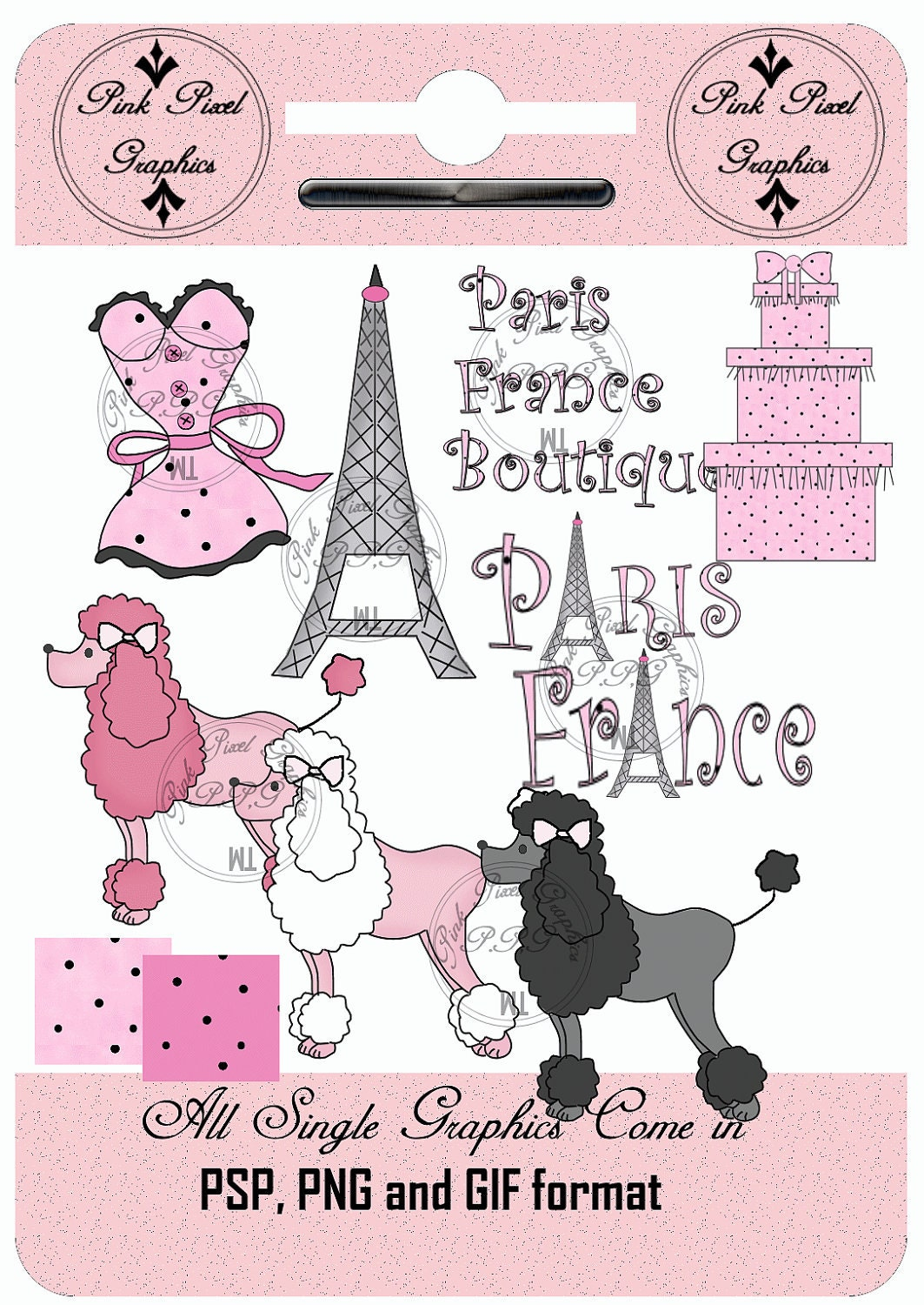 instant download paris poodles trendy boutique by digitalscrap. Black Bedroom Furniture Sets. Home Design Ideas