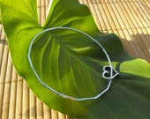Skinny Silver bangle bracelet hammered with a heart