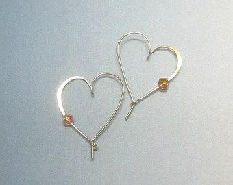 Gold filled  heart hoop earrings
