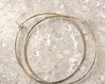 Gold hoop earrings Big light hammered hoops