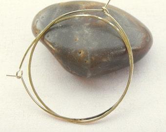Medium hoops - gold hammered hoop earrings