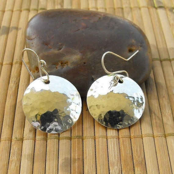 Hammered jewelry silver disk earrings Sterling silver hammered circle earrings