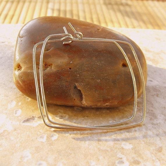 Be square sterling silver hammered hoop earrings