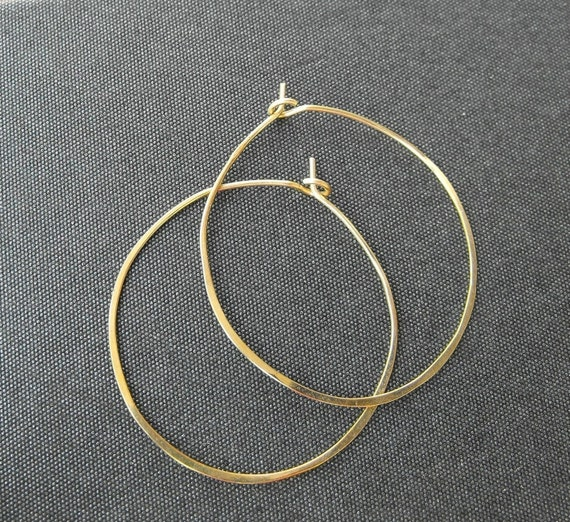 Classic gold hoops - gold hammered hoop earrings