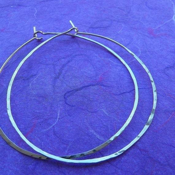 Simple big sterling silver hoop earrings skinny silver hoops