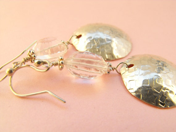 Sterling silver hammered dome white topaz earrings