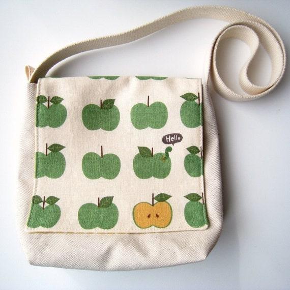 Little Messenger Bag - Hello Worm Loves Green Apples