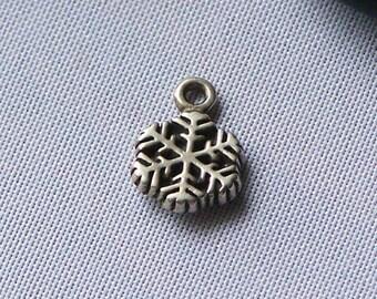 Snowflake, Tiny Charm, Sterling Silver, Christmas Charm, Snowflake Charm, Silver Charm, Sterling Charm, Sterling Snowflake, Etsy