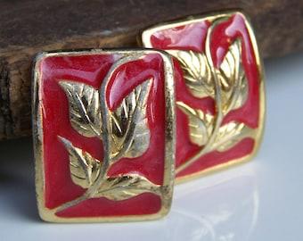 DOLLAR DAZE Enamel Earrings, Etsy Jewelry, Vintage Red Enamel Clip On Earrings with Gold Embossed Leaves and Vines, Etsy Vintage Earrings