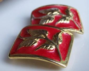 REDUCED Enamel Earrings, Etsy Jewelry, Vintage Red Enamel Clip On Earrings with Gold Embossed Leaves and Vines, Etsy Vintage Earrings
