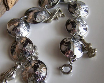 1/2 OFF REDUCED Vintage Canadian Silver Coin Bracelet with Charms, Charm Bracelet, Canada, Etsy Jewelry, Jewelry, Vintage