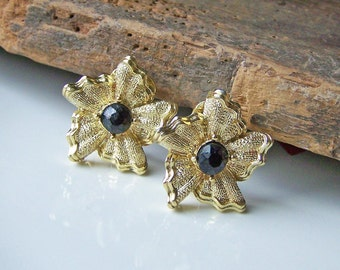 1/2 OFF REDUCED  Vintage Gold Metal and Black Beaded Earrings-- Clip Ons, Etsy Jewelry, Jewelry, GIft, Vintage