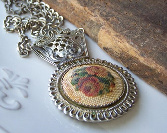REDUCED Etsy Vintage, Etsy, Vintage Needlepoint Chatelaine Hand Mirror Necklace, Necklace, Jewelry, Etsy Jewelry, Vintage
