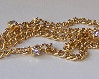 REDUCED Vintage Dainty Gold Tone and Rhinestone Necklace, Etsy Jewelry, Etsy Vintage, Etsy, Gold Necklace, Jewelry, Vintage, Gift