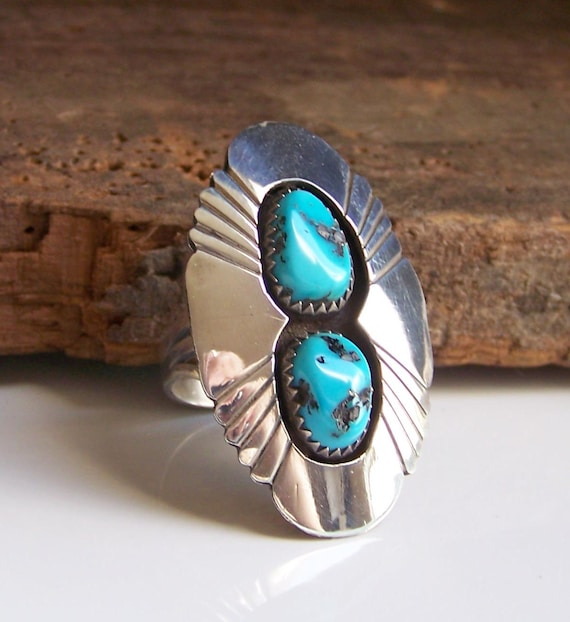 Reduced Vintage Turquoise and Silver Ring-- Size 7 1/2, Handmade, Ring, Etsy Jewelry, Jewelry, Turquoise, Gift