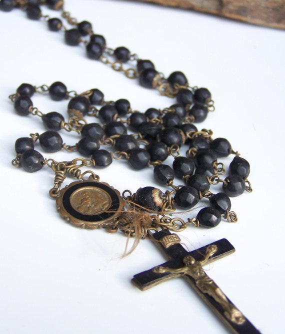 REDUCED  Vintage Black Beaded Catholic Rosary