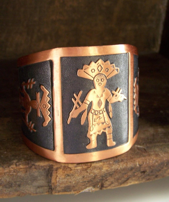 REDUCED Vintage Native American Bell Copper Cuff, ETsy Jewelry, Vintage