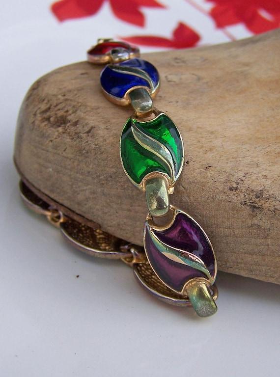 REDUCED, Etsy Vintage, Enamel Linked Bracelet, Bracelet, Vintage Bracelet, Colorful Bracelet, Old Bracelet, Jewelry, Costume Jewelry, Gift