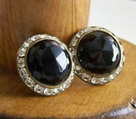 REDUCED Vintage Earrings:  Rhinestone and Black Faceted Beaded Earrings-- Clip Ons, Etsy Jewelry, Vintage, Gift, Jewelry