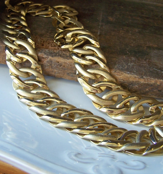 Vintage 80s Gold Tone Linked Necklace, Etsy Jewelry, Jewelry, Vintage, Necklace