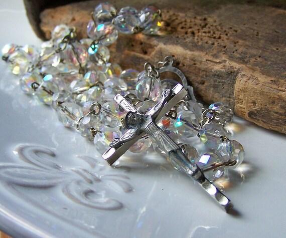Vintage Catholic Rosary-- Marked Italy, Czech Firepolish Auroraborealis Beads, Vintage Rosary, Vintage