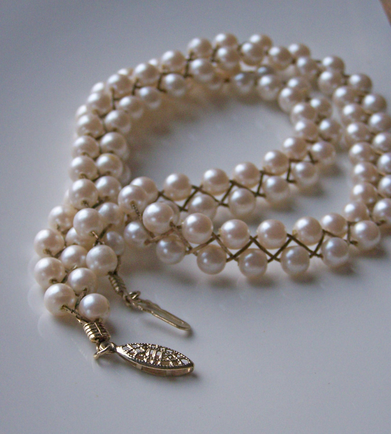 Vintage Pearl Choker Necklace: Etsy Vintage Pearls: Vintage Avon Braided Faux Pearl