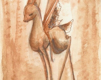 ACEO fantasy deer art print - The Copper Fawn - Limited