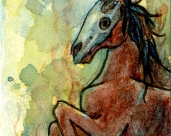The Fen Horse - ACEO fantasy kelpie watercolor art print - Limited