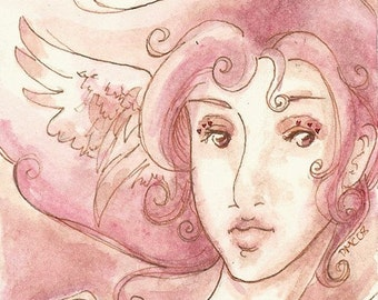 ACEO pink angel girl art print - The Red Key - Limited