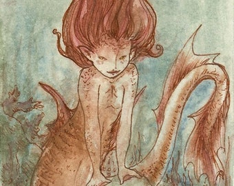 The Rust Merrow - red mermaid watercolor - ACEO giclee bamboo print