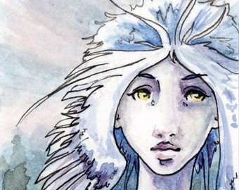 ACEO blue anime angel art print - Northern Light - Limited