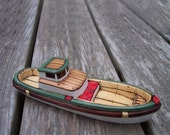 Green Red Cedar Wooden Toy Boat