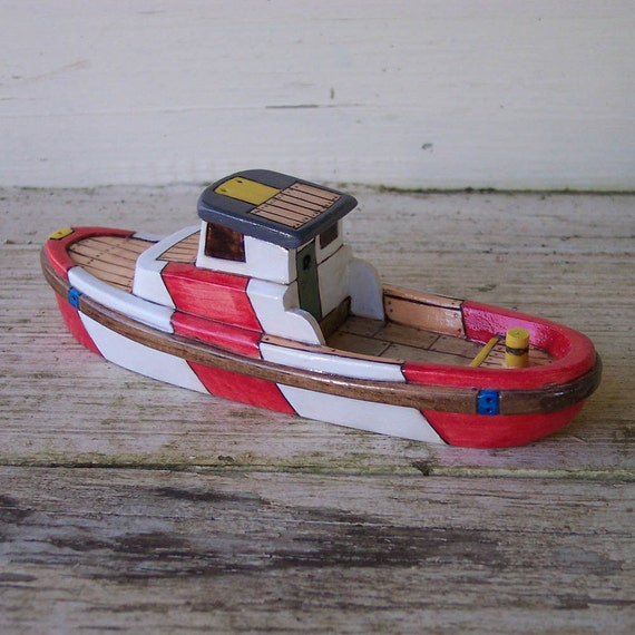 Red Harbor Toy Wooden Boat