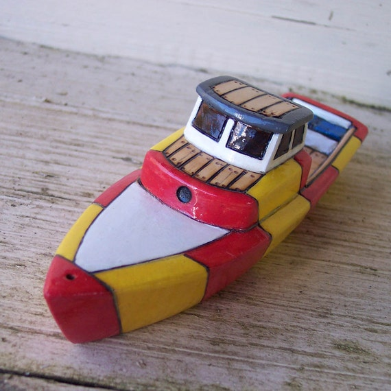 Red And Yellow Trophy  Wooden Toy Boat
