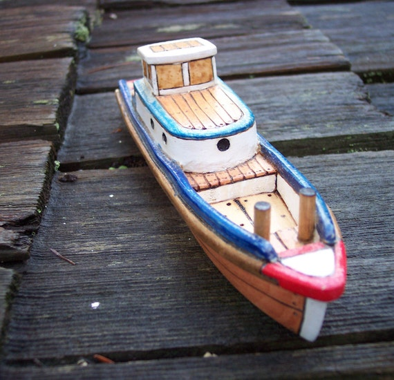 blue bow picker wooden toy fishing boat