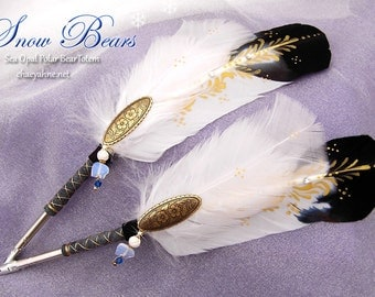 SNOW BEAR Sea Opal TOTEM Feather Quill Pen