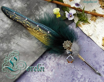The LORELEI Siren Mermaid Macaw Feather Quill Pen