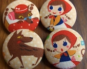Little Red and the Wolf Fabric Covered Buttons