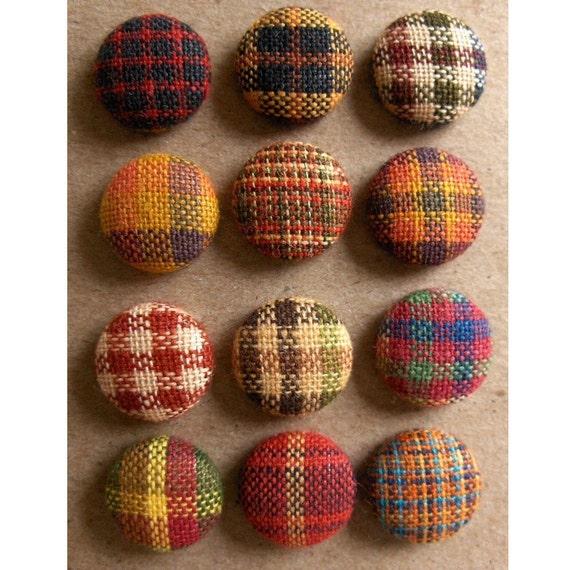 Plaid Fabric Buttons or Brads- Homespun Harvest Hues