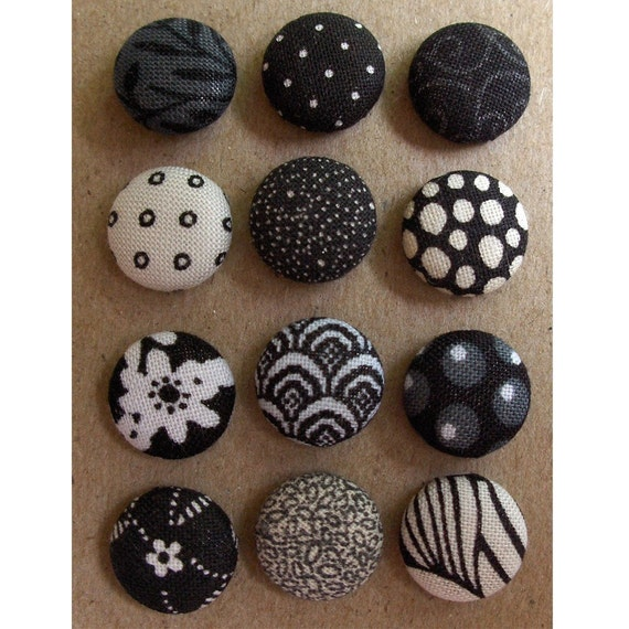 Fabric Buttons or Brads- Black and White