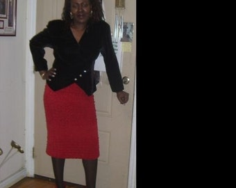 Red Suede Skirt - Special Order