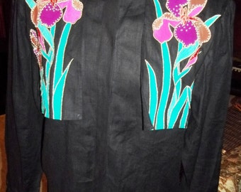CLEARANCE: Artsy, Funky and CHIC 1980's CACHE Linen Floral Embellished Blouse