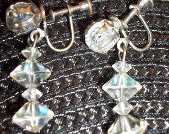 EXQUISITE Vintage Australian Crystal Chandlier Dangly Ear Bobs Earrings