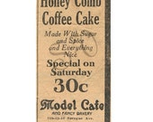Honey Comb Cake Authentic Antique Newspaper Ad Digital Image Shabby Chic 1920s