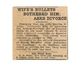 Sepia 1920s Antique Newspaper Article Divorce Digital Image