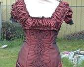 RESERVED Listing  Embroidered Bronze Victorian Bustle Gown