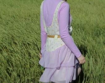 Womens Jumper Dress Yellow Print with Lavender Ruffles