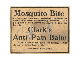 Antique Newspaper Print Advertisement Digital Image Clarks's Anti-Pain Balm