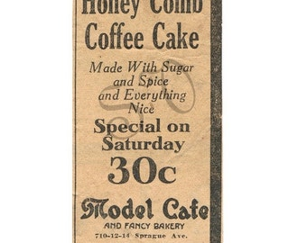 Antique Newspaper Print Ad Honey Comb Cake Digital Image Shabby Chic 1920s